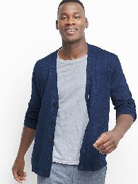 Gap Cotton Linen V Neck Cardigan - Navy heather