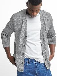 Gap Cotton Linen V Neck Cardigan - Heather grey