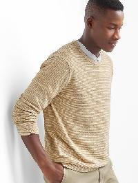 Gap Stripe Cotton Linen Crew Pullover - Camel