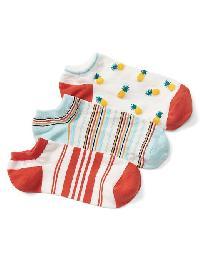 Gap Mix Print Ankle Socks (3 Pairs) - Coral key