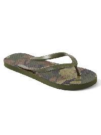 Gap Print Flip Flops - Green camo