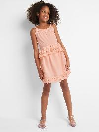 Gap Eyelet Spaghetti Peplum Dress - Satiny pink