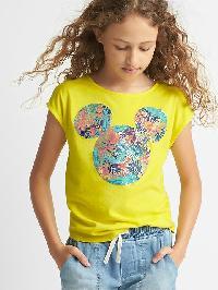 Gapkids &#124 Disney Mickey Mouse And Minnie Mouse Tropic Cap Tee - Bright lemon meringue