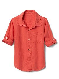 Gap Linen Blend Convertible Shirt - Blood orange