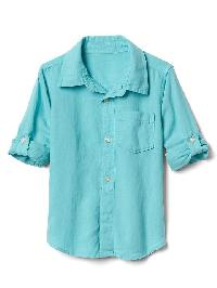 Gap Linen Blend Convertible Shirt - Fair aqua 107