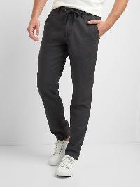 Gap Linen Cotton Drawstring Pants - Moonless night