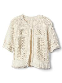 Gap Fringe Short Sleeve Sweater - Ivory