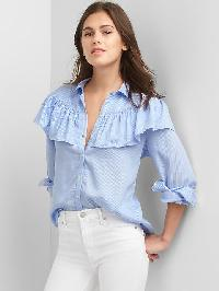 Gap Tencel Railroad Stripe Ruffle Shirt - Blue & white stripe