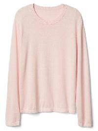 Gap Cotton Linen Crew Pullover - Pink heather