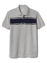 Gap Short Sleeve Stripe Polo - Heather grey