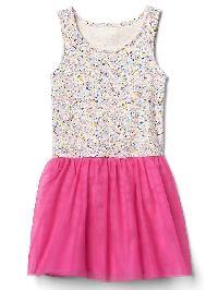 Gap Floral Tulle Tank Dress - Pink rose