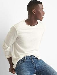 Gap Linen Cotton Long Sleeve Crewneck - New off white