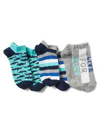 Gap Graphic No Show Socks (3 Pairs) - Blue shark