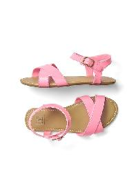 Gap Faux Leather Crisscross Sandals - Neon impulsive pink