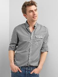 Gap True Wash Poplin Garment Dye Slim Fit Shirt - Dark gray