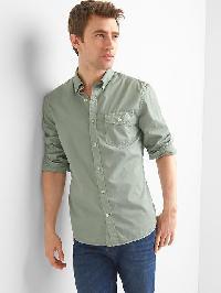 Gap True Wash Poplin Garment Dye Slim Fit Shirt - Sage