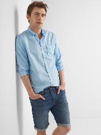 Gap True Wash Poplin Garment Dye Slim Fit Shirt - Light blue
