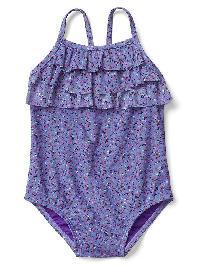 Gap Ruffle Swim One Piece - Small blue floral