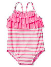 Gap Ruffle Swim One Piece - Light pink stripe