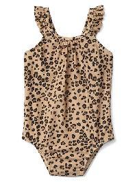 Gap Ruffle Swim One Piece - Leopard