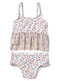 Gap Print Peplum Swim Two Piece - Pink floral