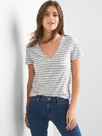 Gap V Neck Stripe Pocket Tee - Grey stripe