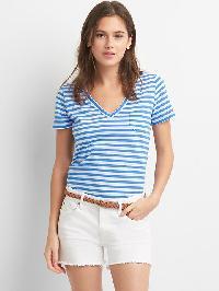 Gap V Neck Stripe Pocket Tee - Blue stripe
