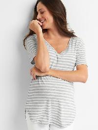 Gap Short Sleeve V Neck Vintage Wash Tee - Gray stripe