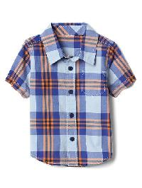 Gap Plaid Short Sleeve Shirt - Matisse blue 537