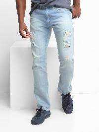 Gap Lightweight Destructed Slim Fit Jeans (Stretch) - Light bleached destroy