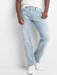 Gap Lightweight Straight Fit Jeans (Stretch) - Light indigo