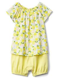 Gap Print Double Layer Shorty One Piece - Lemon print
