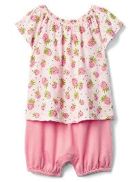 Gap Print Double Layer Shorty One Piece - Pink cameo