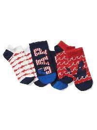 Gap Graphic No Show Socks (3 Pairs) - Red shark