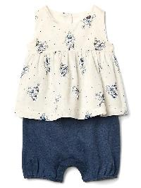 Babygap &#124 Disney Baby Minnie Mouse Double Layer Shorty One Piece - Ivory frost