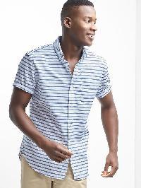 Gap Oxford Stripe Standard Fit Short Sleeve Shirt - Navy