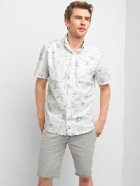 Gap Oxford Hawaii Blueprint Short Sleeve Standard Fit Shirt - Hawaiian map