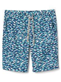 """Gap Poplin Print Sleep Shorts (10"""") - Shark"""