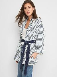 Gap Cotton Linen Stripe Wrap Jacket - Blue stripe