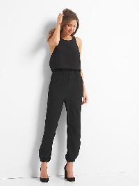 Gap Crepe Sleeveless Keyhole Jumpsuit - True black