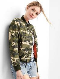 Gap Nylon Camo Bomber Jacket - Camo print