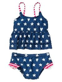 Gap Print Peplum Swim Two Piece - Stars and stripes