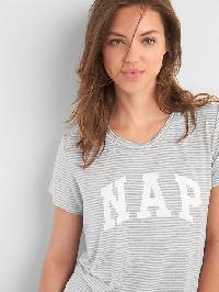 Gap Mix And Match Short Sleeve Sleep Shirt - Lt heather grey stripe