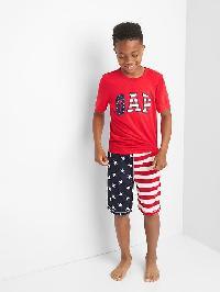 Gap Americana Logo Short Pj Set - Pure red
