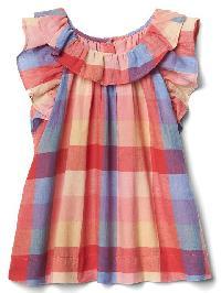 Gap Plaid Ruffle Dress - Pink plaid