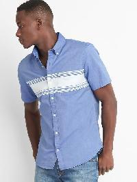 Gap Oxford Chest Stripe Short Sleeve Slim Fit Shirt - Brilliant blue