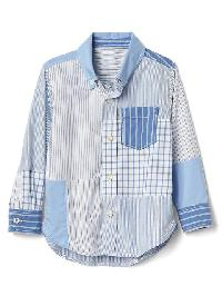 Gap Patchwork Button Down Shirt - Cabana blue 602