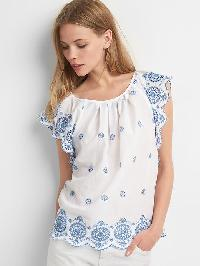 Gap Embroidery Flutter Sleeve Top - White