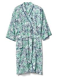 Gap Floral Print Tie Belt Robe - Bamboo palm green