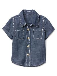 Gap Short Sleeve Chambray Shirt - Denim